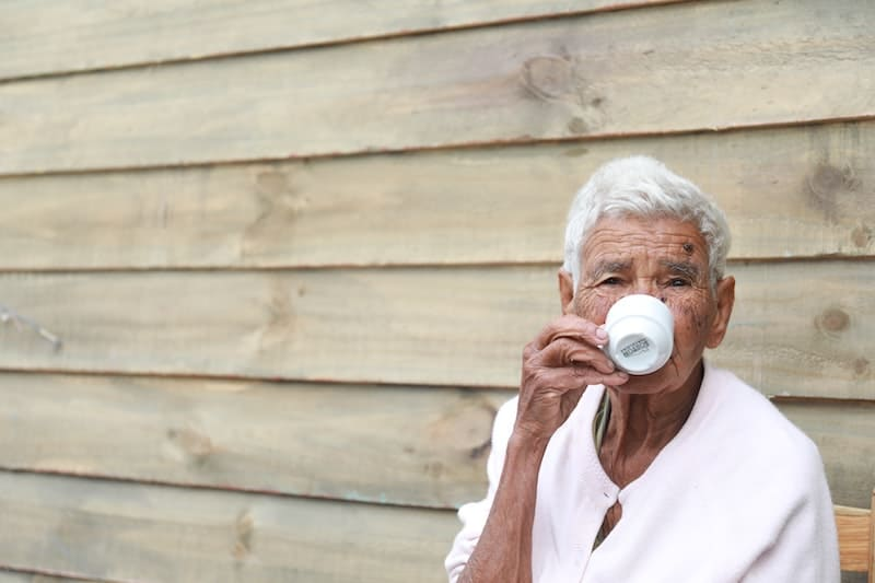 senior enjoying coffee