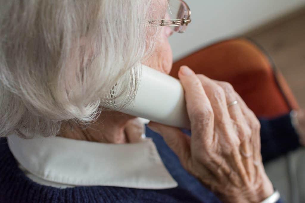 a women using home phone